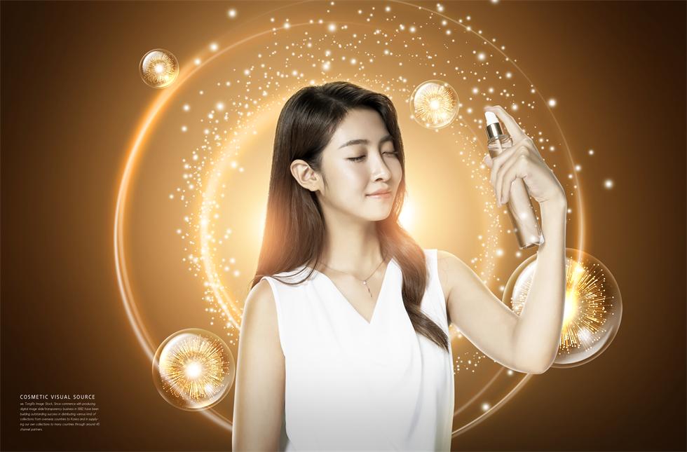 水润保湿化妆品清新简约护肤品海报