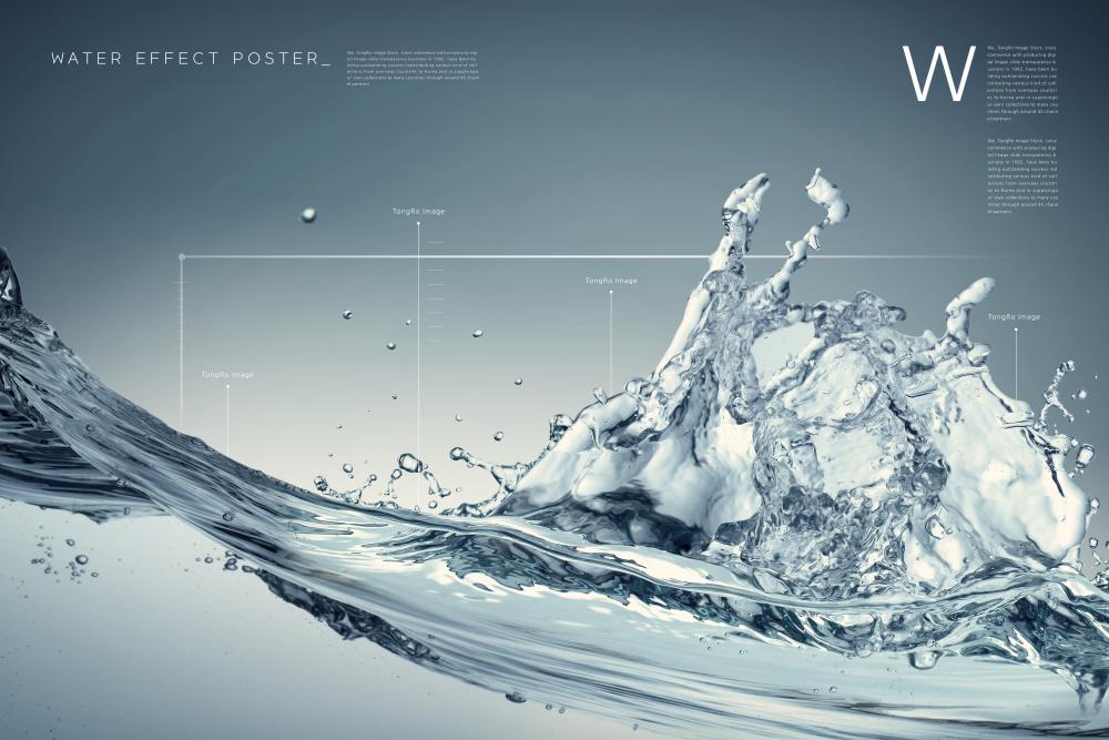 溅起的水花纯净水海报水素材psd分层