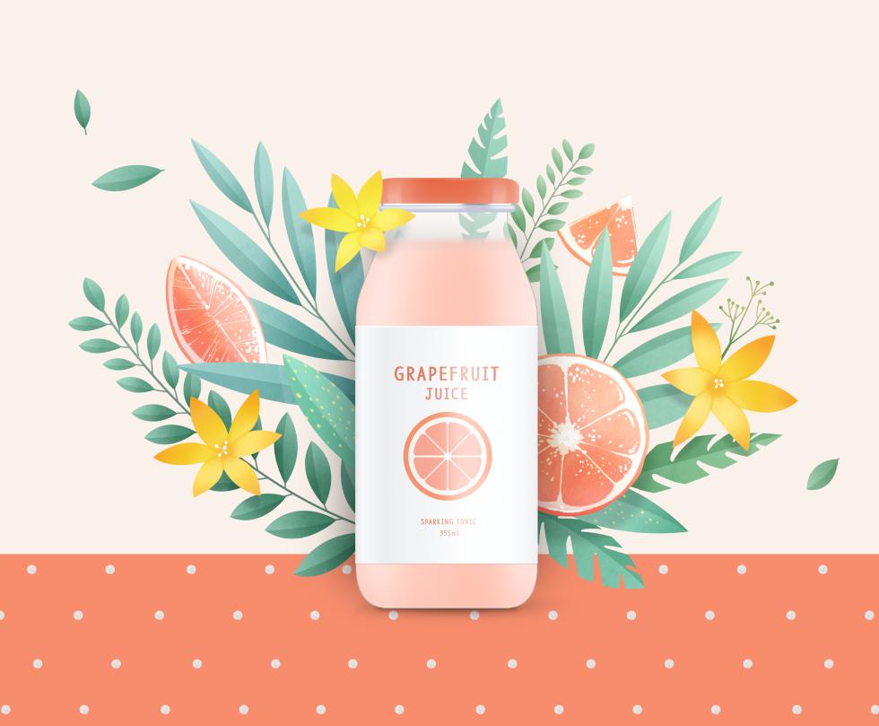 小清新粉色橙汁饮料饮品海报