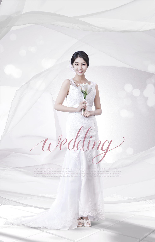 白色高端美女婚礼婚纱展示促销海报