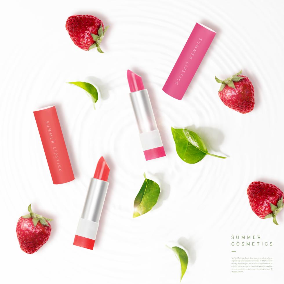 彩妆系列口红化妆品促销海报