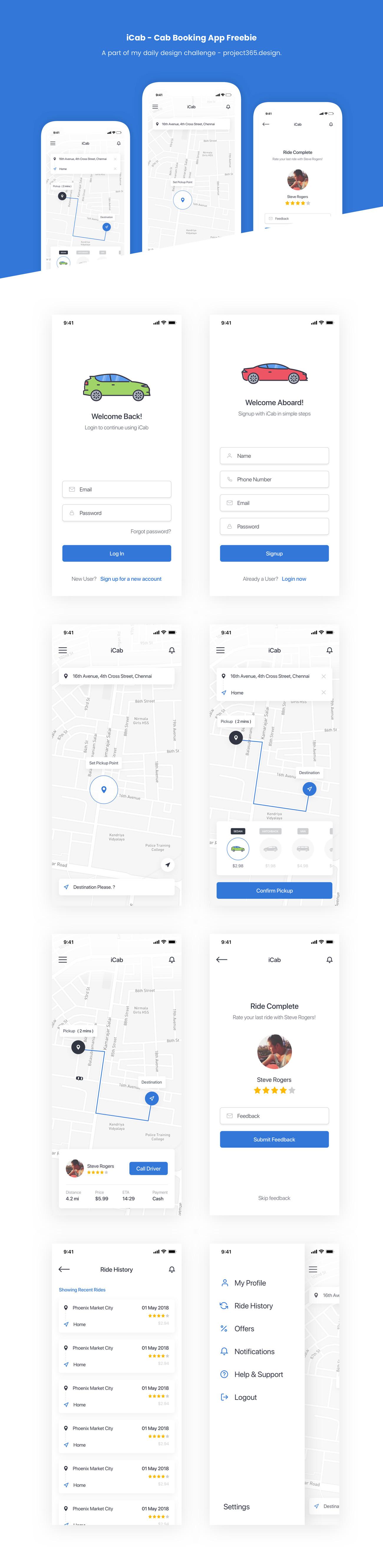 共享汽车租赁平台预订移动应用界面