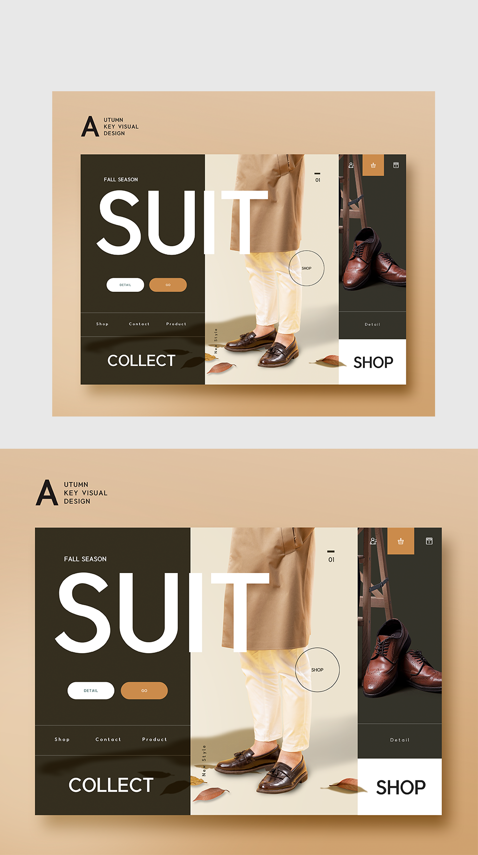 棕色简约高端服装男鞋响应式WEB界面设计源文件