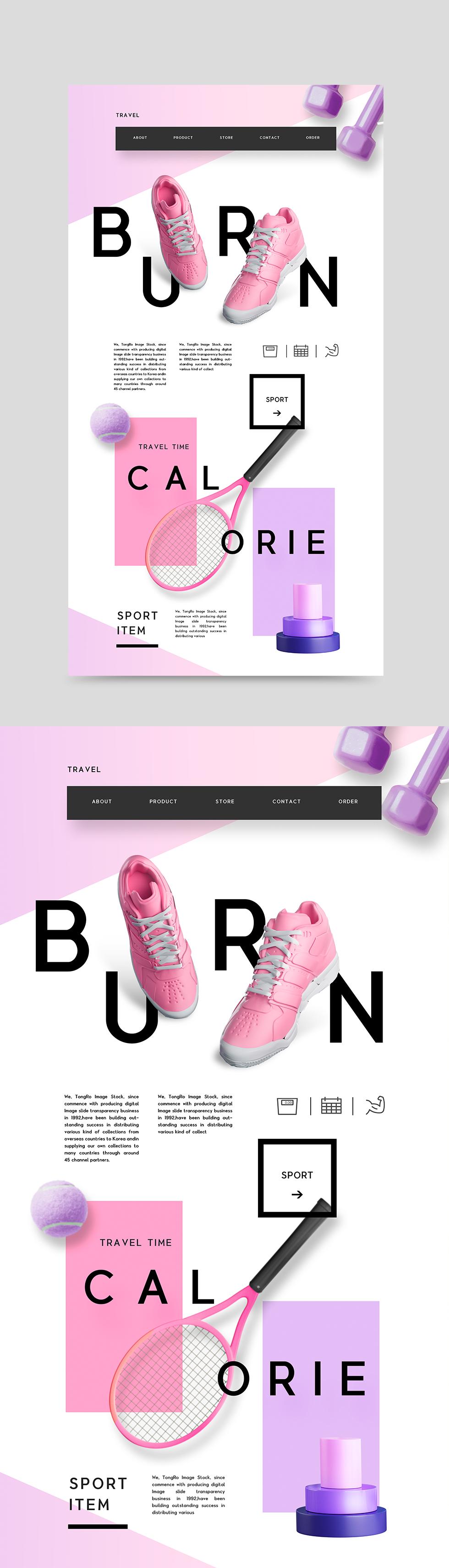 简约欧美风格响应式web网页设计模板psd分层