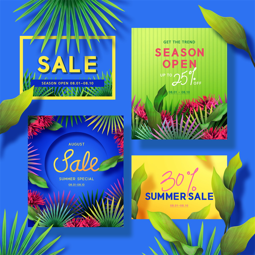 夏季热带植物元素促销广告宣传banner海报psd分层设计素材02